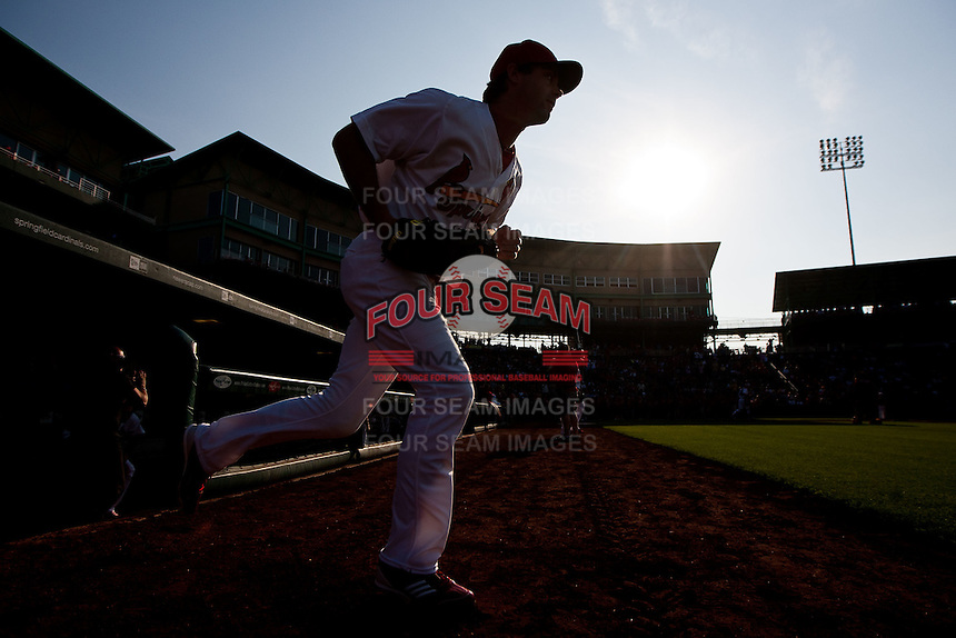 Jake Shaffer (31) of the Springfield Cardinals runs out onto the field prior to a game against the Arkansas Travelers at Hammons Field on May 5, 2012 in Springfield, Missouri. (David Welker/Four Seam Images)