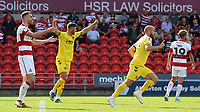 Fleetwood Town's Paddy Madden (centre right) celebrates scoring his side's second goal <br /> <br /> Photographer David Shipman/CameraSport<br /> <br /> The EFL Sky Bet League One - Doncaster Rovers v Fleetwood Town - Saturday 17th August 2019  - Keepmoat Stadium - Doncaster<br /> <br /> World Copyright © 2019 CameraSport. All rights reserved. 43 Linden Ave. Countesthorpe. Leicester. England. LE8 5PG - Tel: +44 (0) 116 277 4147 - admin@camerasport.com - www.camerasport.com