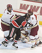 Mike Brennan (Cory Schneider) Ryan Ginand, Nathan Gerbe - The Boston College Eagles defeated Northeastern University Huskies 5-3 on Saturday, November 19, 2005, at Kelley Rink in Conte Forum at Chestnut Hill, MA.