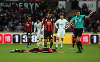 Dan Gosling of Bournemouth  lies flat on the ground, match referee Andrew Marriner calls for assistance (R) during the Barclays Premier League match between Swansea City and Bournemouth at the Liberty Stadium, Swansea on November 21 2015