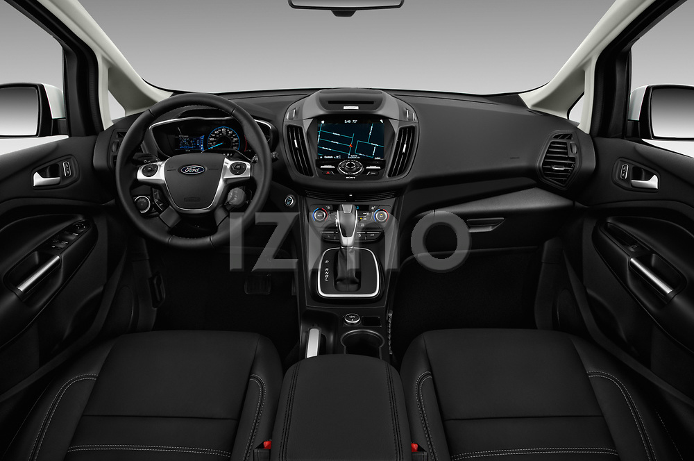 Stock photo of straight dashboard view of 2017 Ford C-Max Energi-Titanium 5 Door Mini MPV Dashboard
