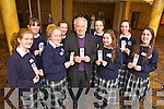 Students from Presentation Secondary, Tralee presented Bishop Bill Murphy with a bookmark, which they made themselves for Ceiluradh na nOg, in the Brandon Conference Centre yesterday (Wednesday), celebrating the year of faith. Pictured were: Niamh Dillane, Patriz brosnan, Aisling Fitzmaurice, Sandra Lynch, Niamh Hanafin, Noirín Kennelly, Ciara Kilgallen, Helen Dowling with Bishop of Kerry Bill Murphy.