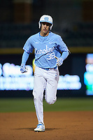 Kip Brandenburg (38) of the North Carolina Tar Heels hustles towards third base against the Charlotte 49ers at BB&T BallPark on March 27, 2018 in Charlotte, North Carolina. The Tar Heels defeated the 49ers 14-2. (Brian Westerholt/Four Seam Images)