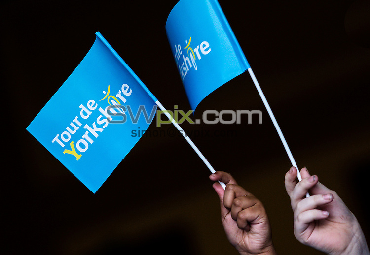 Picture by Alex Whitehead/SWpix.com - 21/01/2015 - Cycling - Tour de Yorkshire 2015 Route Launch - The Spa, Bridlington, England - Local school children wave flags to launch the route of the 2015 Tour de Yorkshire.