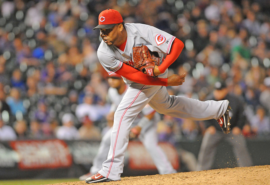 09 SEPTEMBER 2011:  Cincinnati Reds relief pitcher Francisco Cordero (48) picked up his 32nd save of the year  during a regular season game between the Cincinnati Reds and and the Colorado Rockies at Coors Field in Denver, Colorado.  The Reds beat the Rockies 4-1.  *****For Editorial Use Only*****