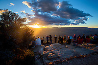 Aug. 22, 2014; GRAND CANYON, AZ, USA; Visitors at the south rim of the Grand Canyon in northern Arizona. The canyon has been formed over millions of years by the Colorado River cutting its way through the desert. Mandatory Credit: Mark J. Rebilas