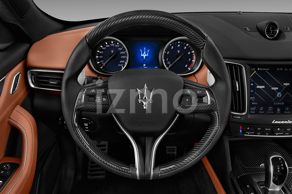 Car pictures of steering wheel view of a 2018 Maserati Levante Base 5 Door SUV