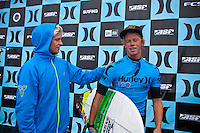 "LOWER TRESTLES, California / USA (Monday, September 19, 2011) John John Florence (HAW) and Kolohe Andino (USA). - The Hurley Pro at Trestles, Event No. 7 of 11 on the 2011 ASP World Title Series, recommenced in rippable two-to-four (1 metre) surf at Lowers this morning for Round 2 of competition, and it was the youngsters lighting things up in the elimination man-on-man bouts.. .Jadson Andre (BRA), 21, took the day's top honors despite the inconsistent nature of his heat and locked into two lefts to earn the day's top scores. The high-flying Brazilian built momentum against dangerous Hawaiian Dusty Payne (HAW), 22, launching an 8.17 (out of 10), and shortly found another left and unloaded a powerful forehand carve and finished the wave with an inverted air-reverse to notch a 9.43 (out of 10).. .""The last few years I've been working on my carves and the waves I learned how to surf on, the only thing you can do is big airs on the beach breaks,"" Andre said. ""It's the first thing I learned how to do and I know how to do them well. When the wind's onshore like that it's way easier to do airs, I saw Gabriel (Medina) do the same."". .Andre, who is often praised for his aerial game, is equally well-rounded in his turns and the talented goofy-footer knows to keep an open mind in his heats when approaching the Lower Trestles lineup.. .""In the morning, with the off-shores, it's not as easy to do the airs,"" Andre said. ""We'll see what happens, you can't just think about the airs, you have to think about what's going to be the best turn to do at that time. Hopefully I can keep going."". .Andre will take on compatriot Adriano de Souza (BRA), 23, in Round 3 of competition.   Photo: joliphotos.com"