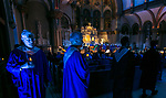 Members of the DePaul Community Chorus make their way into the Saint Vincent de Paul Parish Church during the annual Christmas at DePaul performance, Friday, Dec. 8, 2017, in Lincoln Park. Christmas at DePaul is the retelling of the birth of Christ in word and song. The event is offered as a gift to the community and guests are asked to donate either money or food items to support the St. Vincent de Paul Parish Food Pantry. Each year a student is selected from The Theatre School to narrate the sacred story as selections of classical holiday music celebrating the birth of Christ are performed by the DePaul Community Chorus and student musicians from the School of Music. (DePaul University/Jamie Moncrief)