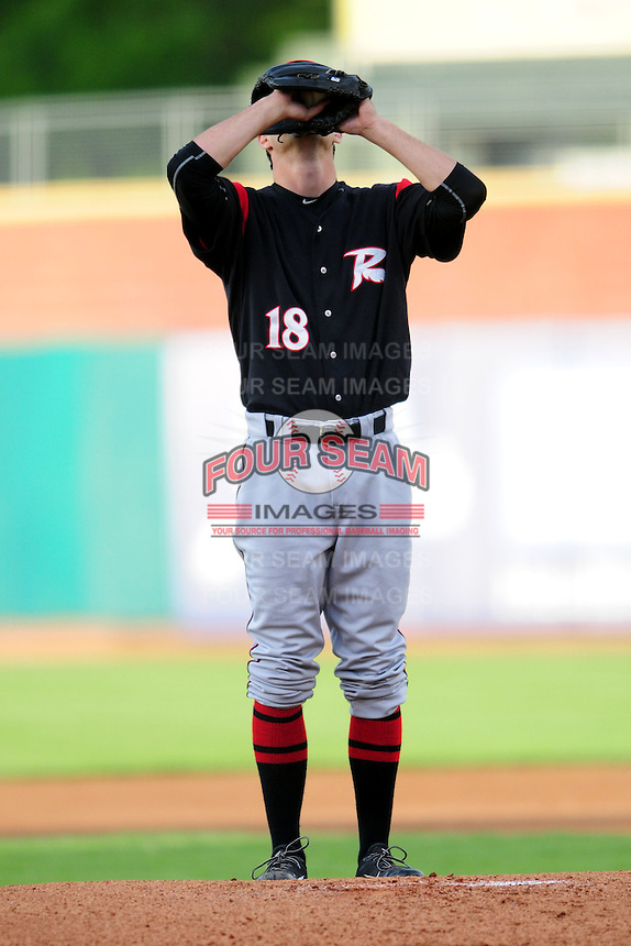 Tyler Beede (18) of the Richmond Flying Squirrels preps to warm up during a game versus the New Hampshire Fisher Cats at Northeast Delta Dental Stadium on June 5, 2015 in Manchester, New Hampshire. (Ken Babbitt/Four Seam Images)