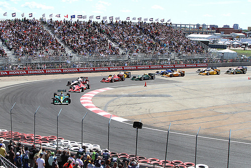 22-24, July, 2011, Edmonton, Alberta, Canada<br /> Takuma Sato leads the start of the race<br /> (c) 2011 Russell Purcell<br /> LAT Photo USA