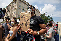 Justin Bonhomme holds up a Black Lives Matter sign near the White House during a march against police brutality and racism in Washington, D.C. on Saturday, June 6, 2020.<br /> Credit: Amanda Andrade-Rhoades / CNP/AdMedia
