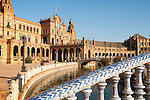 The Plaza de España, Seville, Spain built in 1928 for the Ibero-American Exposition of 1929. It is a landmark example of the Renaissance Revival style in Spanish architecture