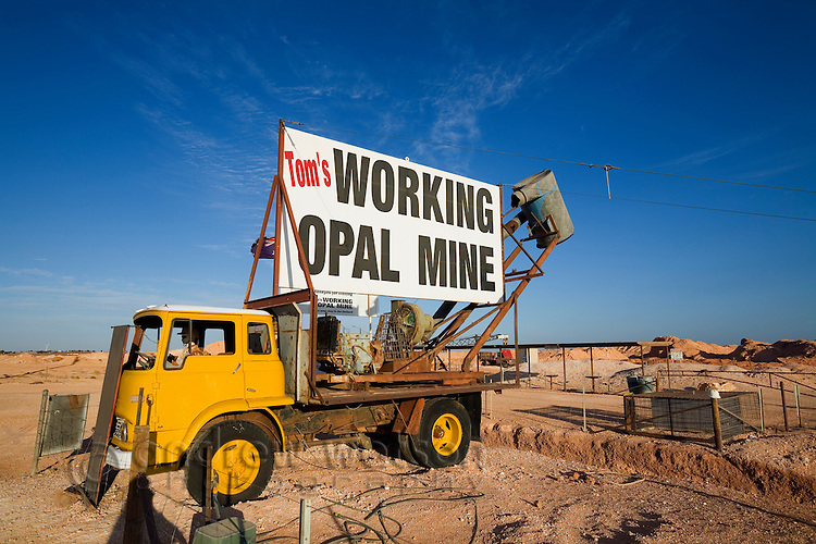 Toms' Working Opal Mine - a tourist attraction in the outback town of Coober Pedy, South Australia, AUSTRALIA.