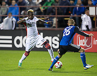 Santa Clara, California -Saturday, March 29, 2014: Saer Sene of NE Revolution controlling the ball down the field during a match against SJ Earthquakes at Buck Shaw Stadium. Final Score: SJ Earthquakes 1, NE Revolution 2