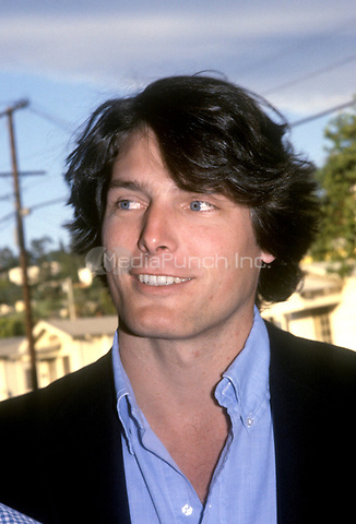 Photograph of actor Christopher Reeve.<br /> Los Angeles, California.<br /> 1983.<br /> &copy; Nancy Barr  / MediaPunch