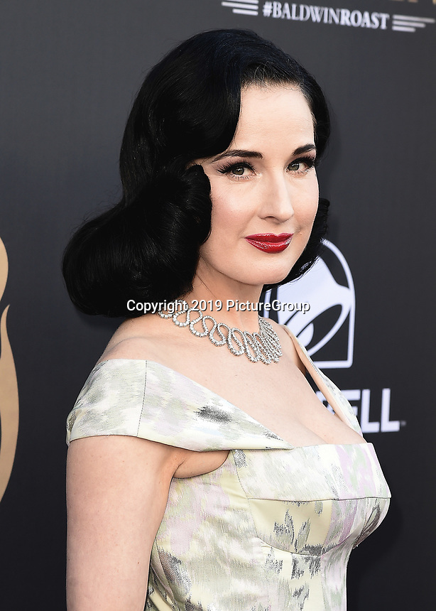 """BEVERLY HILLS - SEPTEMBER 7:  Dita Von Teese attends the """"Comedy Central Roast of Alec Baldwin"""" at the Saban Theatre on September 7, 2019 in Beverly Hills, California. (Photo by Scott Kirkland/PictureGroup)"""