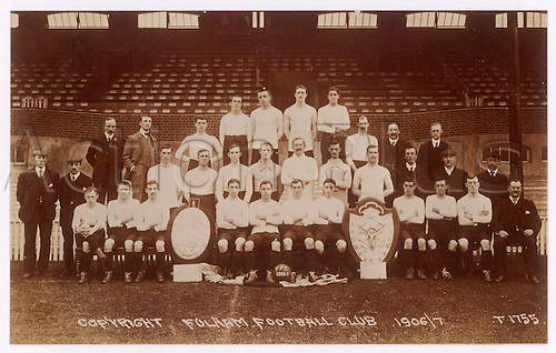 A postcard of Fulham Football  Club's team for the 1906/7 season.