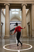 London, UK. 25 April 2016. Pictured: Luke Crook. The Tate Britain Commission 2016 Pablo Bronstein: Historical Dances in an Antique Setting opens at the Duveen Galleries of Tate Britain on 26 April and runs until 9 October 2016. The commission features a continuous live performance by three dancers created by Pablo Bronstein. The annual Tate Britain Commission is supported by Sotheby's which invites artists to create a new large-scale work in response to the neo-classical Duveen Galleries at Tate Britain. Entrance is free.