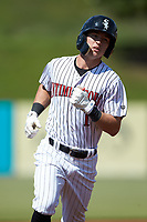 Tyler Frost (1) of the Kannapolis Intimidators rounds the bases after hitting a home run against the Greensboro Grasshoppers at Kannapolis Intimidators Stadium on August 5, 2018 in Kannapolis, North Carolina. The Intimidators defeated the Grasshoppers 9-0 in game two of a double-header.  (Brian Westerholt/Four Seam Images)