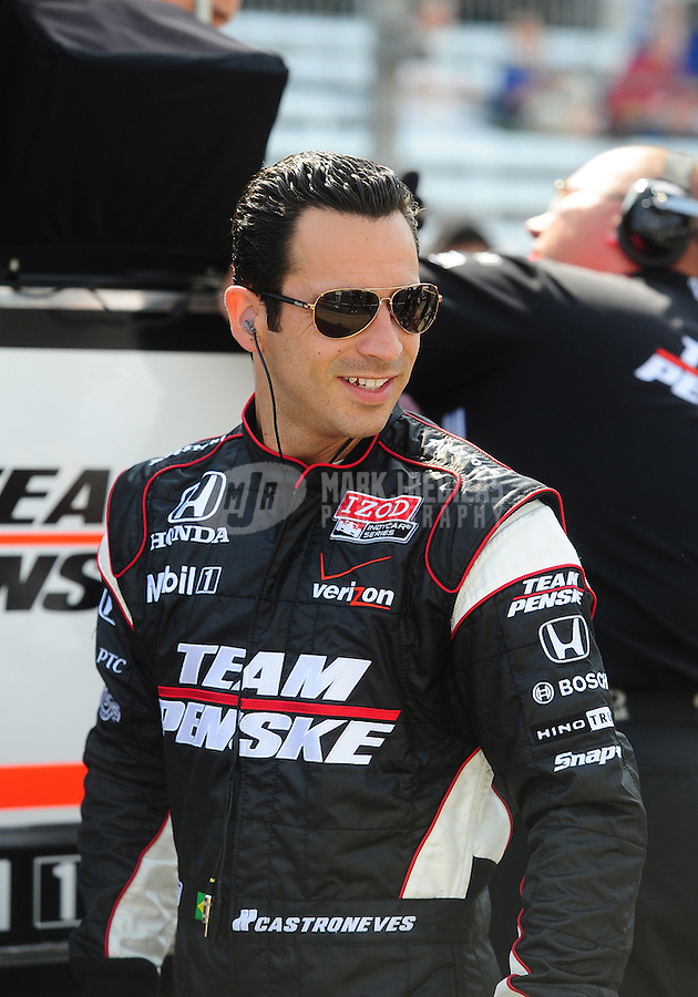 May 28, 2010; Indianapolis, IN, USA; IndyCar Series driver Helio Castroneves during carb day prior to the Indianapolis 500 at the Indianapolis Motor Speedway. Mandatory Credit: Mark J. Rebilas-