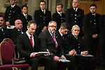 © Joel Goodman - 07973 332324. 05/01/2018. Manchester, UK. L-R PCSO LEWIS BROWN , PCSO JON MORREY , PCSO MARK RENSHAW and PC JESSICA BULLOUGH receive a Highly Commended awards . Police officers and railway workers who came to the aid of victims in the wake of the terrorist attack at an Ariana Grande concert at the Manchester Arena in May 2017 are honoured at a commendation ceremony at the Great Hall at Manchester Town Hall. Amongst those honoured are officers from British Transport Police and Northern Rail staff . Photo credit : Joel Goodman