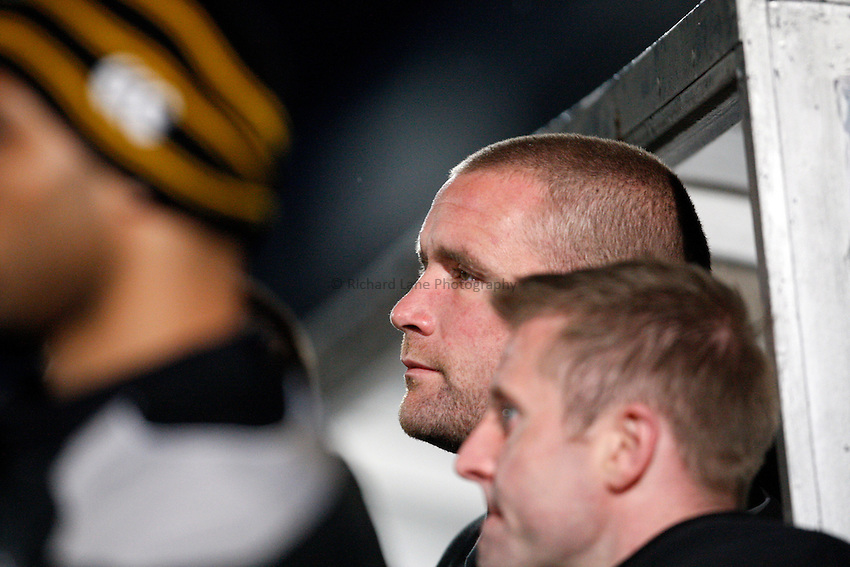 Photo: Richard Lane/Richard Lane Photography..London Wasps v Sale Sharks. Guinness Premiership. 15/04/2008. Wasps' Phil Vickery watches on after suffering a knee injury.