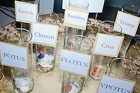 Poker chips fill glasses in a straw poll at the MSNBC After Party at the United States Institute of Peace in Washington, DC. The party followed the annual White House Correspondents Association Dinner on Saturday, April 30, 2016. The party continued until about 3 AM on Sunday, May 1, 2016.
