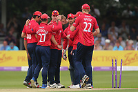 Jamie Porter of Essex is congratulated by his team mates after taking the wicket of Alex Hales during Essex Eagles vs Notts Outlaws, Royal London One-Day Cup Semi-Final Cricket at The Cloudfm County Ground on 16th June 2017