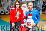 Catriona Linnehan and Martin Boyd with Santa Claus supporting the University Hospital Kerry  Christmas Jumper appeal day in support of the St Vincent de Paul charity on Friday.