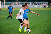 Kansas City, MO - Wednesday August 16, 2017: Kelley O'Hara, Brittany Ratcliffe during a regular season National Women's Soccer League (NWSL) match between FC Kansas City and Sky Blue FC at Children's Mercy Victory Field.
