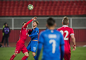 27th March 2018, Karadjorde Stadium, Novi Sad, Serbia; Under 21 International Football Friendly, Serbia U21 versus Italy U21; Defender Filippo Romagna of Italy in challenges Ivan Saponjic of Serbia for the high ball