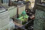 Aerial view of Downtown Montreal The Queen Elizabeth and Marie-Reine-De-Monde Cathedrale in  Downtown Montreal