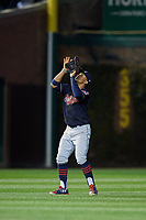 Cleveland Indians shortstop Francisco Lindor (12) catches a shallow popup in the seventh inning during Game 5 of the Major League Baseball World Series against the Chicago Cubs on October 30, 2016 at Wrigley Field in Chicago, Illinois.  (Mike Janes/Four Seam Images)