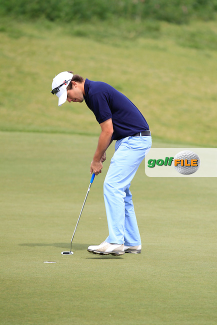 Juan Sarasti (ESP) on the 1st green during Round 3 of the Challenge de Madrid, a Challenge  Tour event in El Encin Golf Club, Madrid on Friday 24th April 2015.<br /> Picture:  Thos Caffrey / www.golffile.ie