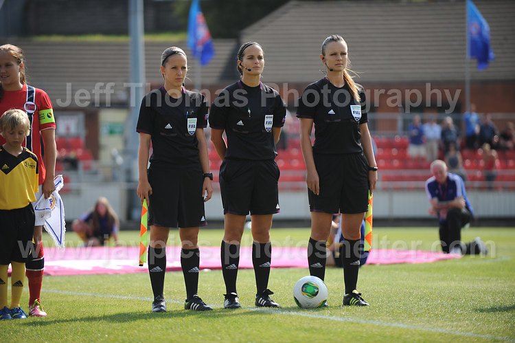 The referee and her assistant referee's at the UEFA Womens U19 Championships at Stebonheath park Sunday 25th August 2013. All images are the copyright of Jeff Thomas Photography-www.jaypics.photoshelter.com-07837 386244-Any use of images must be authorised by the copyright owner.