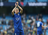 Leicester City's Marc Albrighton applauds the fans at the final whistle <br /> <br /> Photographer Stephen White/CameraSport<br /> <br /> The Premier League - Manchester City v Leicester City - Saturday 13th May 2017 - Etihad Stadium - Manchester<br /> <br /> World Copyright &copy; 2017 CameraSport. All rights reserved. 43 Linden Ave. Countesthorpe. Leicester. England. LE8 5PG - Tel: +44 (0) 116 277 4147 - admin@camerasport.com - www.camerasport.com