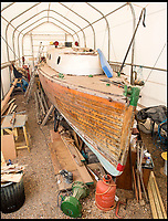 BNPS.co.uk (01202 558833)<br /> Pic: PhilYeomans/BNPS<br /> <br /> The 'Count' is now undergoing a complete restoration at David Wilson's boatyard in Hayling Island, Hampshire.<br /> <br /> Back from the dead - Count Dracula, the Dunkirk little ship that refuses to die.<br /> <br /> A boat yard owner is helping to restore the German-built 'little ship' which rescued his father and 711 other men from Dunkirk.<br /> <br /> David Wilson is one of the men painstakingly restoring the Count Dracula which carried his father Sergeant William Wilson and his fellow engineers home during Operation Dynamo. <br /> <br /> Sgt Norman was left behind with a group of engineers to blow up a bridge then they made their way along the coast looking for a means to escape.<br /> <br /> They found this boat with the crew washed up on a mud bank and the mechanic with them managed to jury rig the gear box to allow them to set off.<br /> <br /> The 50ft long ship had a remarkable existence even prior to Dunkirk as it was built for the German navy in 1913.