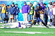 Morgantown, WV - NOV 10, 2018: West Virginia Mountaineers wide receiver David Sills V (13) picks up the first down avoiding a tackle by TCU Horned Frogs safety Markell Simmons (3) during game between West Virginia and TCU at Mountaineer Field at Milan Puskar Stadium Morgantown, West Virginia. (Photo by Phil Peters/Media Images International)