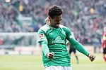 13.04.2019, Weser Stadion, Bremen, GER, 1.FBL, Werder Bremen vs SC Freiburg, <br /> <br /> DFL REGULATIONS PROHIBIT ANY USE OF PHOTOGRAPHS AS IMAGE SEQUENCES AND/OR QUASI-VIDEO.<br /> <br />  im Bild<br /> <br /> 2:0 kopfball Theodor Gebre Selassie (Werder Bremen #23) <br /> <br /> jubel <br /> <br /> Foto &copy; nordphoto / Kokenge