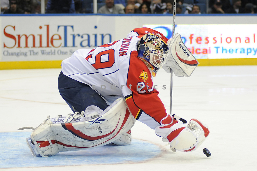 Jan 31, 2009; Uniondale, NY, USA; Florida Panthers  goaltender Tomas Vokoun (29) makes a save against New York Islanders during second period at the Nassau Coliseum.   Mandatory Credit: Tomasso DeRosa-SportPics