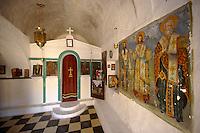 Interior of the Byzantine church of Taxiarchis (Archangels ), Paliachora, Aegina Greek Saronic Islands.