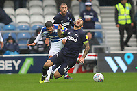 Nahki Wells of Queens Park Rangers fouls Bradley Johnson of Derby County during Queens Park Rangers vs Derby County, Sky Bet EFL Championship Football at Loftus Road Stadium on 6th October 2018