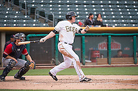 Marc Krauss (39) of the Salt Lake Bees at bat against the Tacoma Rainiers in Pacific Coast League action at Smith's Ballpark on May 7, 2015 in Salt Lake City, Utah. The Bees defeated the Rainiers 11-4 in the completion of the game that was suspended due to weather on May 6, 2015.(Stephen Smith/Four Seam Images)