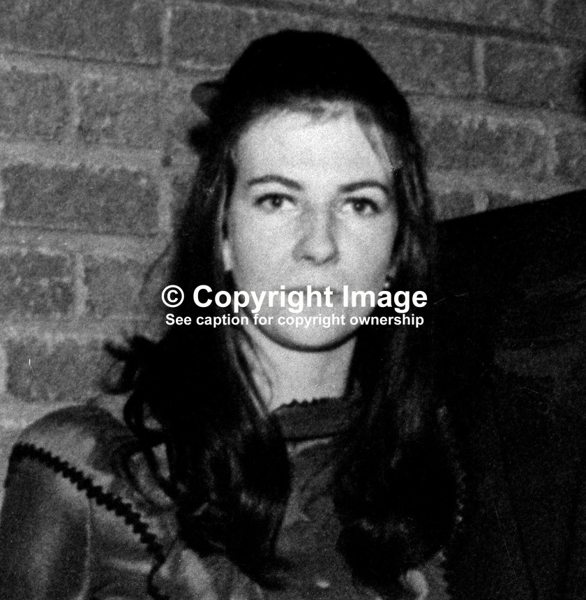 Elizabeth McKee, aka Liz McKee, Andersonstown, Belfast, N Ireland, UK, first woman internee. 197301020008.<br /> <br /> Copyright Image from Victor Patterson, 54 Dorchester Park, Belfast, UK, BT9 6RJ<br /> <br /> t1: +44 28 9066 1296 (from Rep of Ireland 048 9066 1296)<br /> t2: +44 28 9002 2446 (from Rep of Ireland 048 9002 2446)<br /> m: +44 7802 353836<br /> <br /> e1: victorpatterson@me.com<br /> e2: victorpatterson@gmail.com<br /> <br /> The use of my copyright images is subject to my Terms &amp; Conditions.<br /> <br /> It is IMPORTANT that you familiarise yourself with them. They are available on my website at www.victorpatterson.com.<br /> <br /> None of my copyright images may be used on a website unless they are visibly watermarked, i.e. &copy; Victor Patterson within the body of the visible image. Metadata denoting my copyright must NOT be deleted. <br /> <br /> Web use (maximum size - 300 kb) is extra at currently recommended NUJ rates.