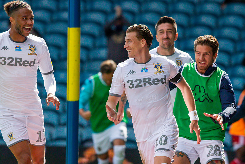 Leeds United's Ezgjan Alioski celebrates scoring his side's second goal <br /> <br /> Photographer Alex Dodd/CameraSport<br /> <br /> The EFL Sky Bet Championship - Leeds United v Fulham - Wednesday 24th June 2020 - Elland Road - Leeds<br /> <br /> World Copyright © 2020 CameraSport. All rights reserved. 43 Linden Ave. Countesthorpe. Leicester. England. LE8 5PG - Tel: +44 (0) 116 277 4147 - admin@camerasport.com - www.camerasport.com<br /> <br /> Photographer Alex Dodd/CameraSport<br /> <br /> The Premier League - Newcastle United v Aston Villa - Wednesday 24th June 2020 - St James' Park - Newcastle <br /> <br /> World Copyright © 2020 CameraSport. All rights reserved. 43 Linden Ave. Countesthorpe. Leicester. England. LE8 5PG - Tel: +44 (0) 116 277 4147 - admin@camerasport.com - www.camerasport.com
