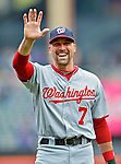 11 April 2012: Washington Nationals infielder Mark DeRosa waves to a friend prior to a game against the New York Mets at Citi Field in Flushing, New York. The Nationals shut out the Mets 4-0 to take the rubber match of their 3-game series. Mandatory Credit: Ed Wolfstein Photo