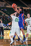Texas Arlington Mavericks forward Briana Walker (21) and North Texas Mean Green guard Hannah Christian (00) in action during the game between the Texas Arlington Mavericks and the North Texas Mean Green at the Super Pit arena in Denton, Texas. UTA defeats UNT 59 to 50...