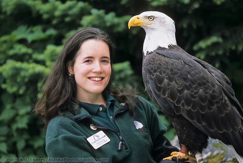 Melissa Wentzell holds a recovering bald eagle at the Alaska Raptor Center. The center provides medical treatment to injured bald eagles and other birds. The Alaska Raptor Center's 17-acre campus borders the Tongass National Forest, a temperate coastal rainforest, and the Indian River in Sitka, Alaska,