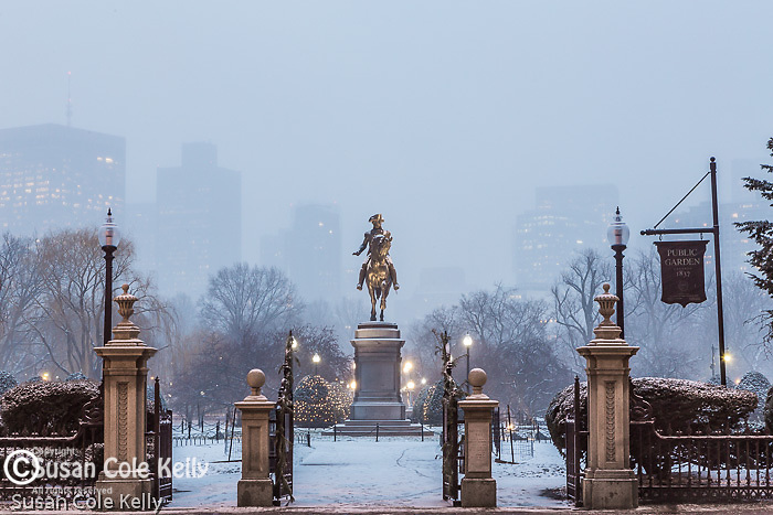 Evening snowfall in the Boston Public Garden, Boston, Massachusetts, USA